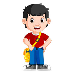 cute boy go to school vector image vector image