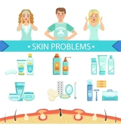 Dermatological problems infographic medical poster vector