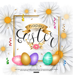 Easter background with chamomile spring flower vector