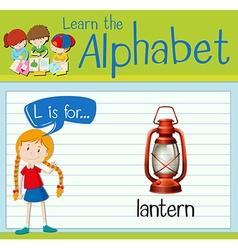 Flashcard alphabet l is for lantern vector