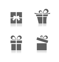 gifts icons set with reflection on white vector image vector image