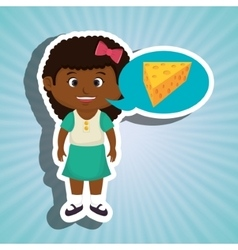 Girl cartoon cheese sliced food vector
