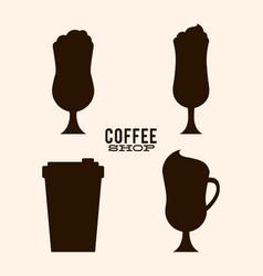Glass and mug of coffee shop design vector