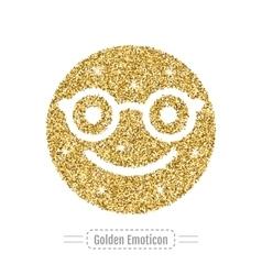 Golden glitter happy emoticon in glasses hipster vector