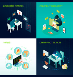 hacker isometric design concept vector image vector image