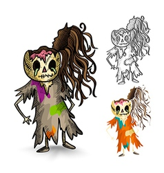 Halloween monsters isolated sketch style zombies vector