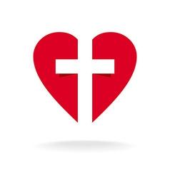 Heart with cross church logo template vector image