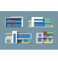 Houses linear 7 color vector