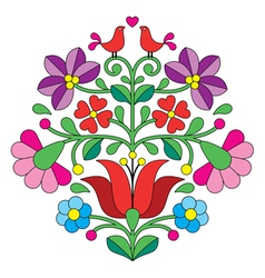 Kalocsai embroidery - hungarian floral pattern vector