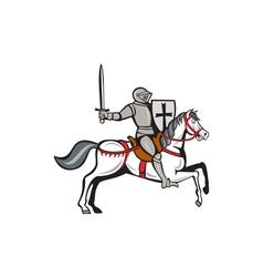 Knight steed wielding sword cartoon vector