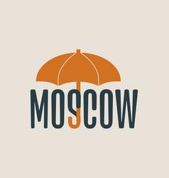 Moscow word under umbrella vector