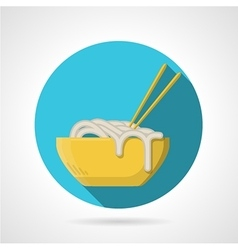 Noodles dish flat round icon vector