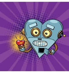 Retro robot and the light bulb heart Valentine vector image vector image