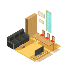 room furniture isometric composition vector image