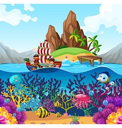 Scene with pirate ship in the ocean vector image