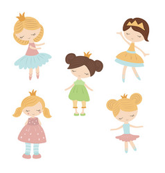 Set of cartoon girls set of cartoon girls vector