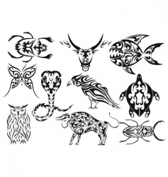 Set of tribal animal tattoos vector