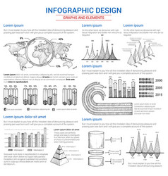 Sketch graphs and elements for infographics vector