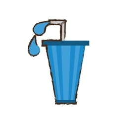 Straw soda with drops icon image vector