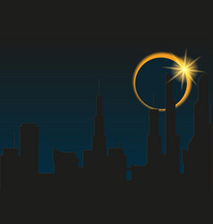 Total eclipse of the sun in the city vector