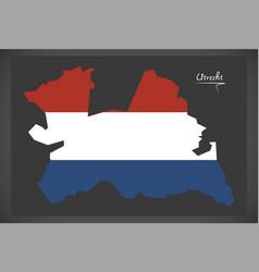 Utrecht netherlands map with dutch national flag vector