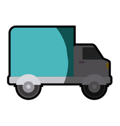 White background with truck with wagon and half vector
