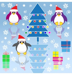 xmas penguins vector image