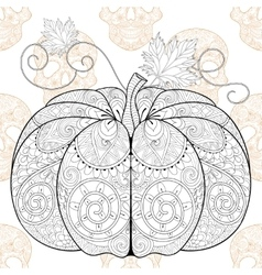 Zentangle stylized pumkin on skull seamless vector