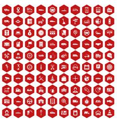 100 auto icons hexagon red vector
