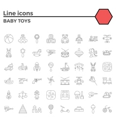 Baby toy line icons vector