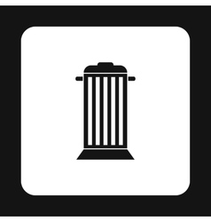 Gray trash can with lid icon simple style vector