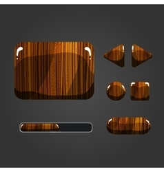 Set of wooden different buttons vector