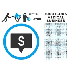 Bank map pointer icon with 1000 medical business vector