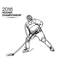 Ice hockey 2016 championship concept art one line vector