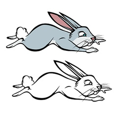 Bunny hopping coloring book vector