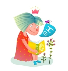 Princess girl reading book vector