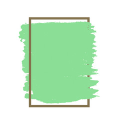 Dense green grunge texture brown frame isolated vector