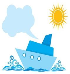 Cartoon ship on the sea vector