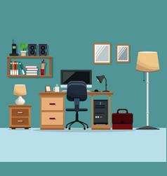Workspace desk chair computer floor lamp mirror vector
