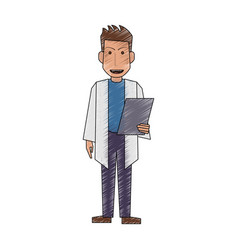 color pencil full body caricature doctor male with vector image