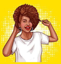 pop art of a black woman vector image