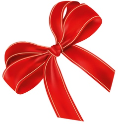 Realistic red bow with light lines vector