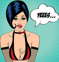 Sexy horny woman in comic style xxx vector