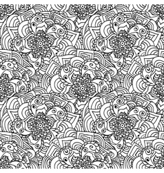 Seamless doodles pattern black and white fishnet vector