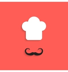 Chef icon with mustache isolated on red background vector