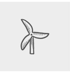 Windmill sketch icon vector image