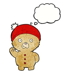 Cartoon waving teddy bear in winter hat with vector