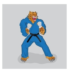Martial arts fighter leopard in the blue gi vector