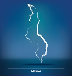 Doodle map of malawi vector