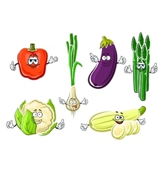 Cartoon happy organic vegetable characters vector